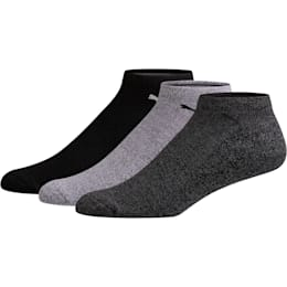 Men's No Show Socks [3 Pack], GREY / BLACK, small